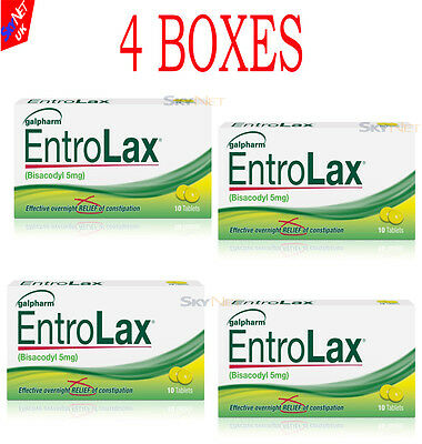 ENTROLAX 5mg 4 PACKS  40 TABLETS  BISACODYL. CONSTIPATION LAXATIVE   DULCOLAX)