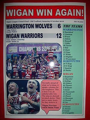 Wigan Warriors 12 Warrington Wolves 6 - 2016 Grand Final - souvenir print