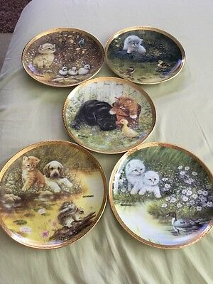 5 Franklin Mint  Cat Plates By Giordano