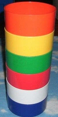 Heller by Massimo Vignelli Plastic Stackable Bowls Rainbow Primary Lot of 6