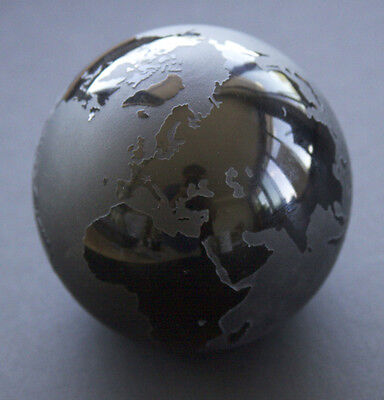 "Correia Art Glass, 1913-88 ""THINK STRAIGHT TALK STRAIGHT, Etched Globe Earth"