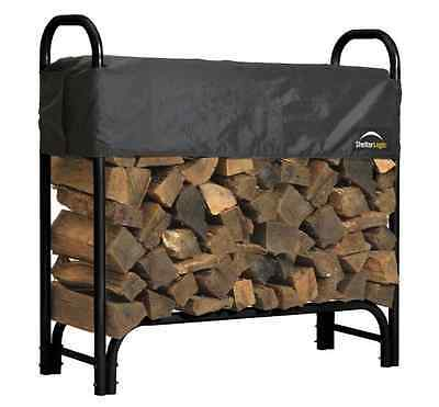 4 Ft. Firewood Rack Cover Log Storage Outdoor Heavy Duty Steel Dry Wood Holder