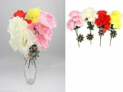 48 x Artificial Flower Rose bunch 6 head 4 asstd colours bulk wholesale lot