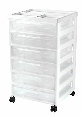 NEW Scrapbook Project Mobile Cart Storage Plastic 6 Cases Craft Rolling White