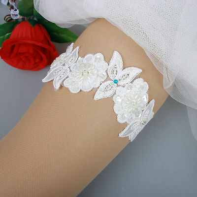 Bridal Wedding Garter White Lace Embroidered Crystal Blue Pearl Flower Beaded