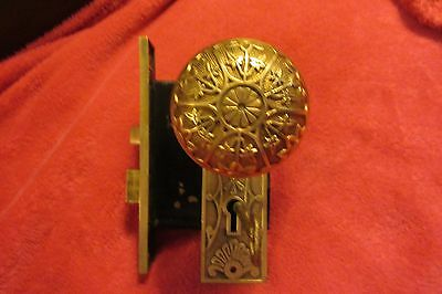 Antique Pair Ornate Heavy Brass Victorian Doorknobs,mortise,back Plates,key