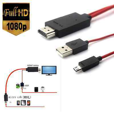 Hd Tv Mhl Hdmi Kabel 11 Pin Micro-Usb Rot Adapter Tablet Handy Smartphone Video