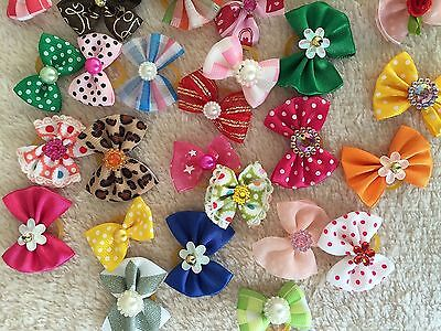 25xCute Assorted Pet Hair Bows Rubber Band Dogs Cat Puppy Headdress Accessories