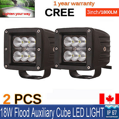 2X 3inch 18W Cree LED Flood Cube Work Lights Driving Pods Off-road Atv Ute Lamp