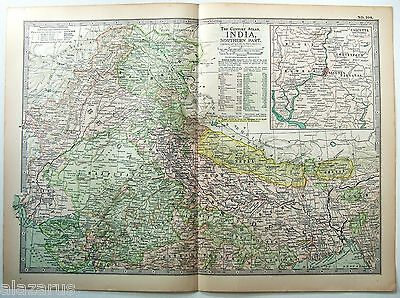 Original 1902 Map of Northern India - A Nicely Detailed Color Lithograph