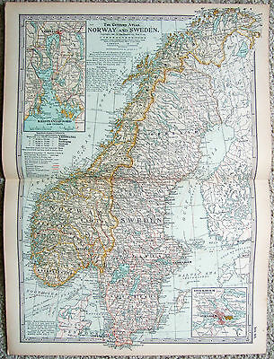 Original 1897 Map of Norway & Sweden by The Century Co.