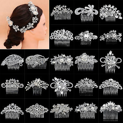 Hi Lady Bridal Wedding Flower Crystal Rhinestones Pearls Hair Clip Comb Diamante