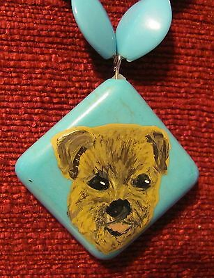Border Terrier hand painted on square pendant/bead/necklace