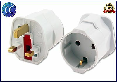 European Euro EU Schuko 2 Pin to UK 3 Pin Plug Adaptor Travel Mains Adapter
