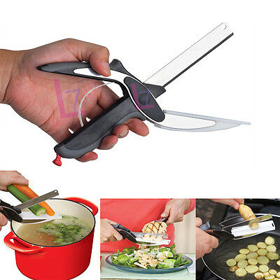 2-in-1 Clever Cutter Cutting Board Scissors Food Choppers Vegetable Slicer Tool