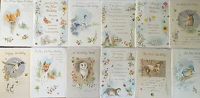 12 Country Style Birthday Cards - For Male & Female