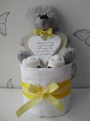 Baby Shower Gift New Baby Gift Maternity Present One Tier Nappy Cake Neutral