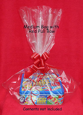 CELLOPHANE HAMPER GIFT BAGS with OPT PULL BOWS - FAB for XMAS, GIFTS, PRESSIES