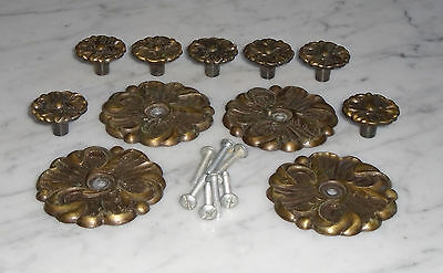 Vintage French Provincial RDCA1960 Rosette Cabinet Drawer Pull Knobs &Backplates