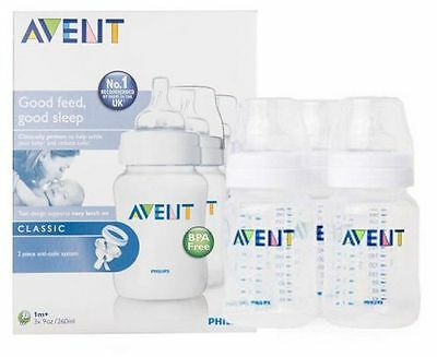 3 PACK Philips Avent Classic+ Baby Feeding Anti-Colic Bottle 260ml Brand New