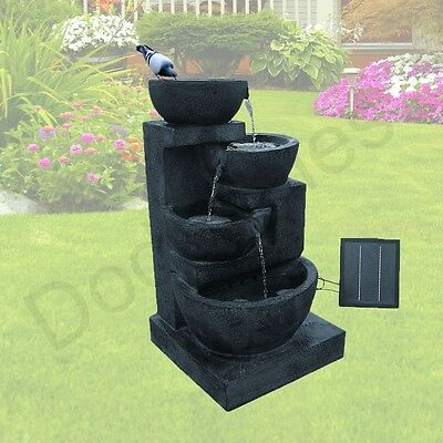 NEW Solar Garden Water Fountain Feature Bird Bath Decor Outdoor Ornament