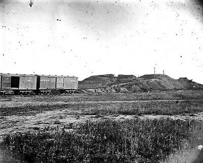 New 11x14 Civil War Photo: Confederate Fort & Boxcars at Manassas, 1862