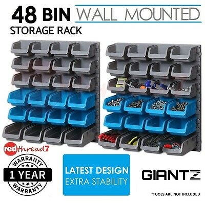 Storage 48 Bin Wall Mounted Tool Rack Parts Garage Unit Shelving Organiser Shed