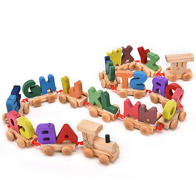 Kids Child Alphabet Number Wooden Train Blocks Baby Educational Toy Xmas Gift SE