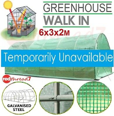 Greenhouse 6X3X2M Walk In Garden Plant Shed PE Mesh Cover Hot House Tunnel Large