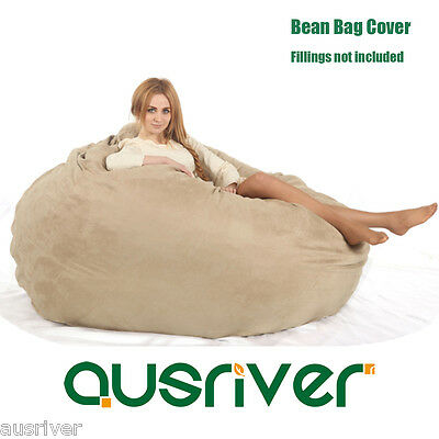 Beige Suede Dia180cm Large Bean Bag Loveseat/Sofa/Chair Beanbag Cover 2 Seater