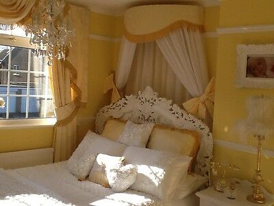 Fabulous Large Bed Canopy/corona  Cream Inc Voile & Bowties
