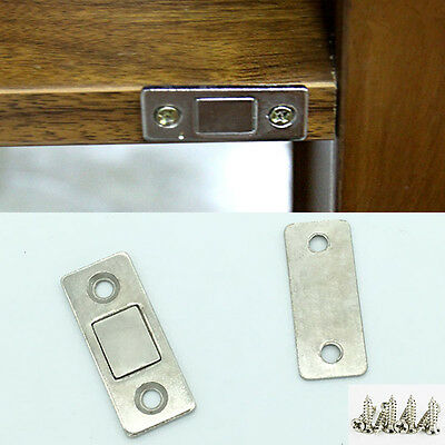2x Ultra Thin Steel Door Catch Latch Furniture Magnetic Cabinet Cupboard Glass