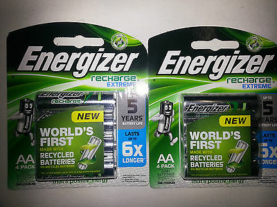 8 x Energizer Rechargeable AA Batteries, 2 x 4pk RECHARGE EXT , 2300mAh HR6