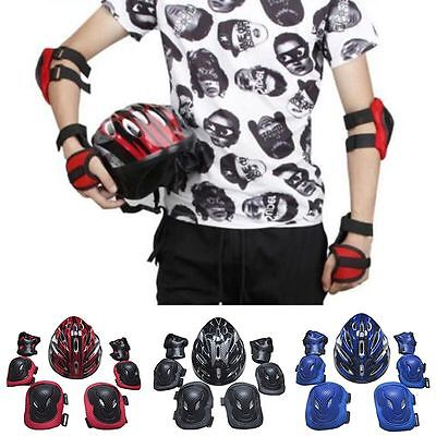 7Pcs Child Adult Skating Board Safety Helmet Set Knee Elbow Wrist Pad Protector