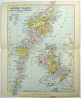 Original Philips 1882 Map of The Western Islands of Scotland - Parts of Ross and