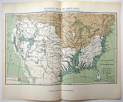 VTG 1902 Geological Map of the US Showing the Distribution of Pleistocene Ice