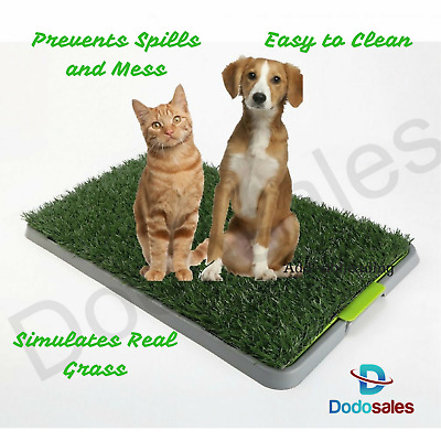NEW Pet Toilet Training Dog Cat Fake Grass Mat Tray Pet Poo Wee Loo Easy Clean