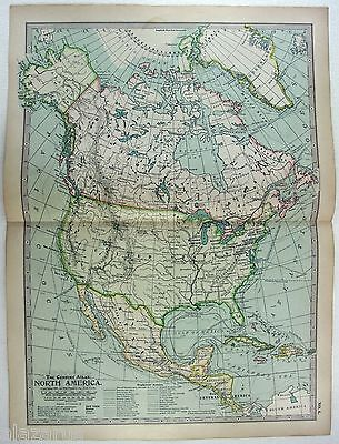 Original 1897 Map of North America - By The Century Co.