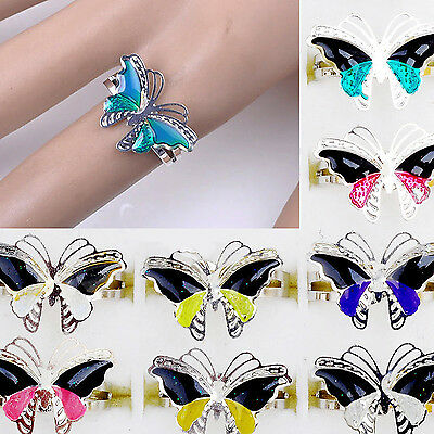 Hi Beautiful Jewellery lots Change Colorful Butterfly Silver Plated Mood Rings