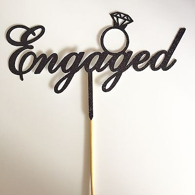 Engaged Cake Topper - Black Glitter