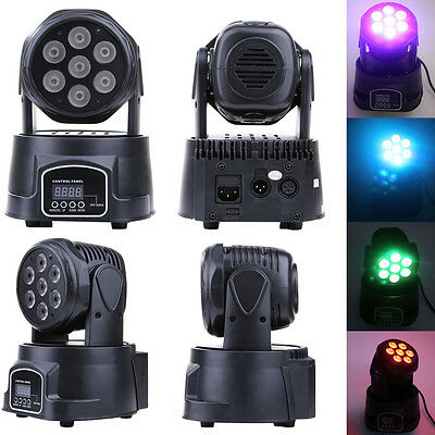 Colorful RGBW 4in1 7x20W LED Moving Head Light DJ Club Party Stage Lighting