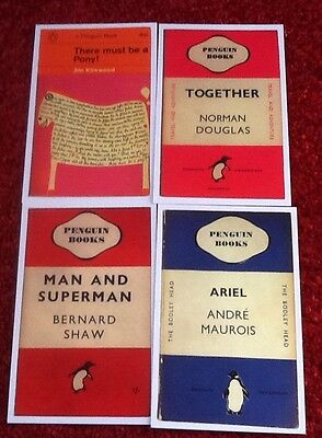Penguin Books Front Retro Cover Postcard Collectors Set Of 4 Framing Etc