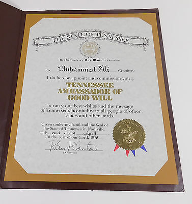 Muhammad Ali Personally Owned 1975 Tenn. Ambassador of Good Will Certificate