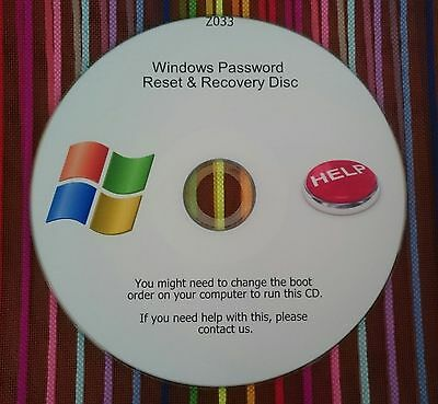 Windows Password Recovery Reset Remove Recover CD Disc for XP, VISTA, 7, and 8