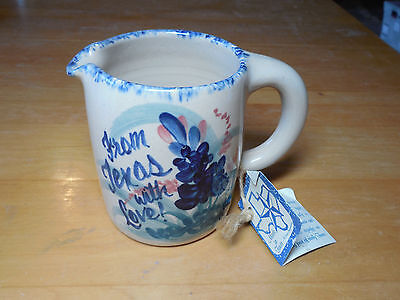 Yesteryears Pottery Marshall TX Creamer FROM TEXAS WITH LOVE Blue with Tag