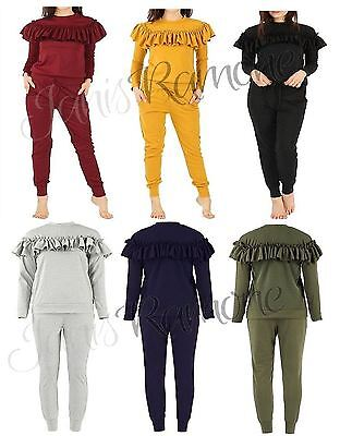 New Women Ladies Long Sleeve Ruffle Frill Detail Top Jogger Loungewear Tracksuit
