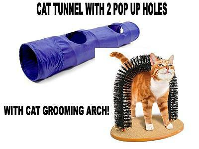 CHAT TUNNEL AVEC 2 Pop-out trou Coupe de poils Vibro-Masseur Arch Jouet Chaton