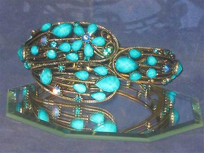 NEW BRONZETONE BRACELET W/TURQUOISE COLORED STONES & CRYSTALS! a64