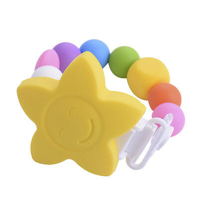Baby Silicone Petal Teething Soother Pacifier Clip Beads Chew Nipple Strap Chain