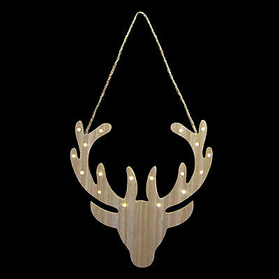 Reindeer Wooden Light Up Plaque Christmas Room Decoration LED Battery Operated